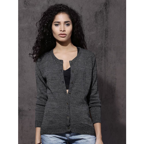 Roadster Women Charcoal Grey Self-Design Cardigan Sweater