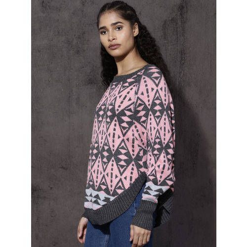 Roadster Women Grey & Pink Self Design Pullover