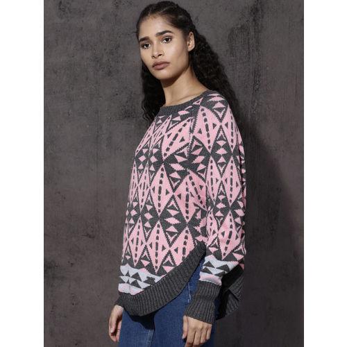 Roadster Women Grey & Pink Self Design Pullover