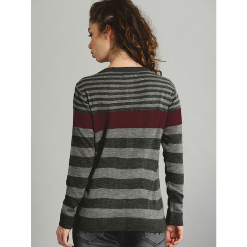Roadster Women Grey Striped Cardigan