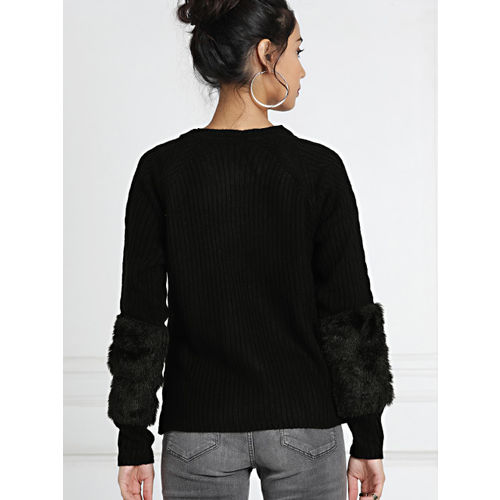 all about you from Deepika Padukone Women Black Self Striped Fur Faux Pullover