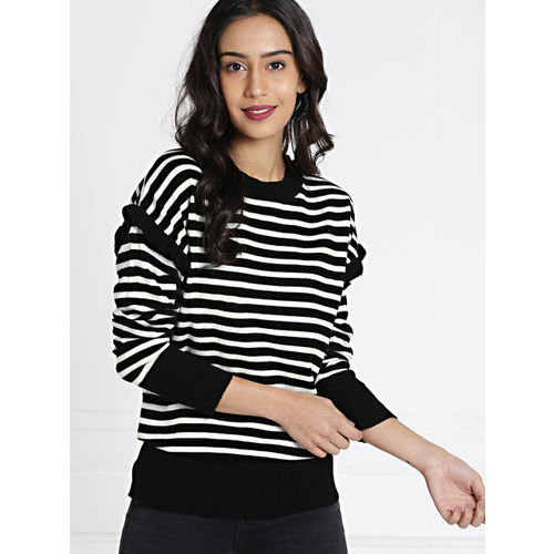 all about you Women Black & White Striped Pullover Sweater
