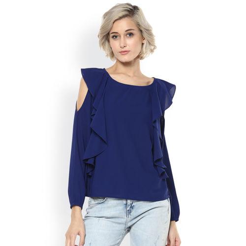 567b6940e7702c Buy Harpa Women Navy Cold Shoulder Top online
