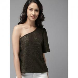Moda Rapido Women Black & Gold-Toned Solid One-Shoulder Sheen Top
