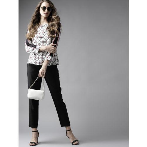 Moda Rapido Women White & Black Printed Top
