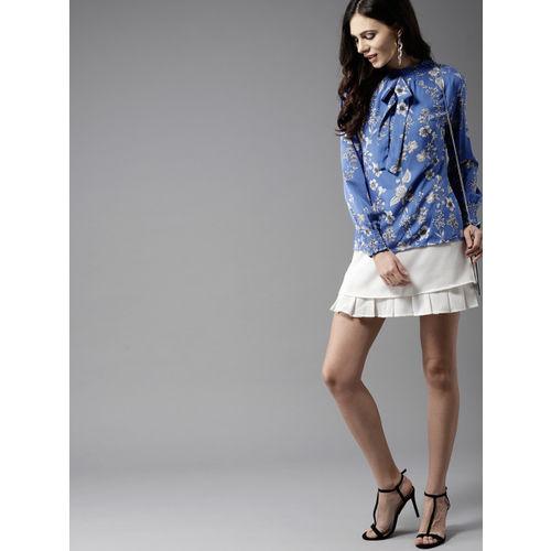 Moda Rapido Women Blue & White Floral Print Top