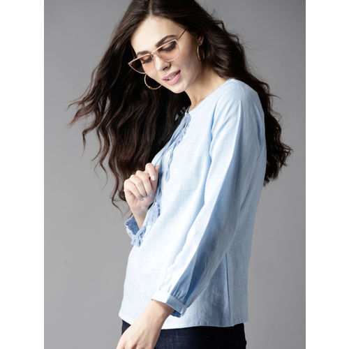 Moda Rapido Women Blue Solid Top