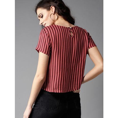 Moda Rapido Women Red & Black Striped Top