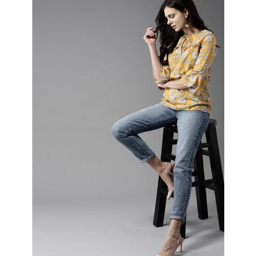 Moda Rapido Women Mustard Yellow & White Printed A-Line Top