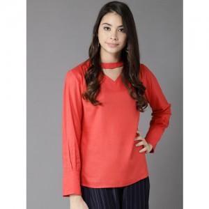 Moda Rapido Women Coral Red Solid Top