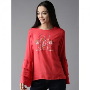 Moda Rapido Women Coral Pink Embroidered Top