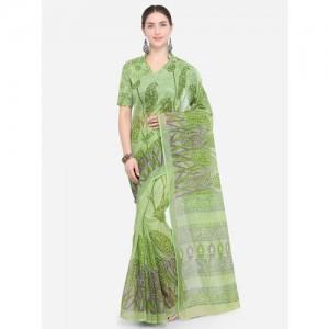 Saree Swarg Green Printed Pure Cotton Saree