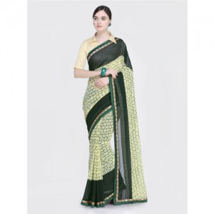 Saree Swarg Green & Cream-Coloured Poly Georgette Printed Saree