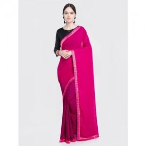 Saree Swarg Pink Printed Poly Georgette Saree