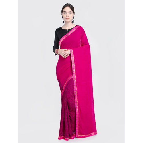 Saree Swarg Pink Printed Poly Georgette Saree