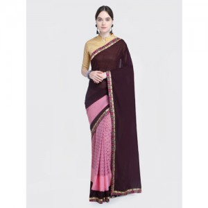 Saree Swarg Pink & Black Poly Georgette Printed Saree