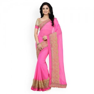 Saree Swarg Pink Faux Georgette Saree