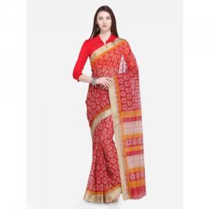 Saree Swarg Red & White Printed Kota Saree