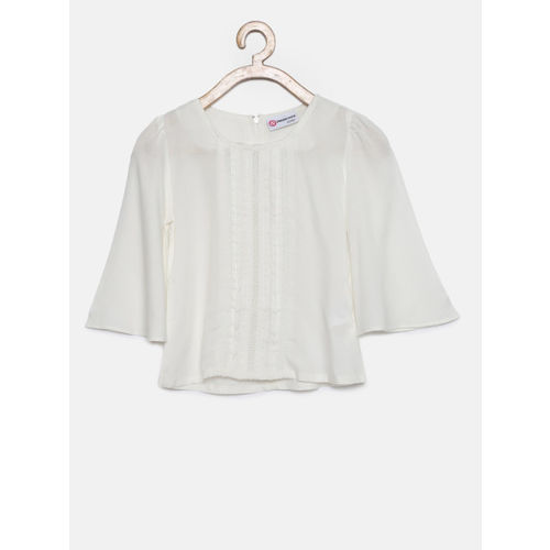 Peppermint Girls White Pleated Detail Top