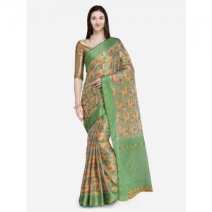 Saree Swarg Green Printed Banarasi Saree