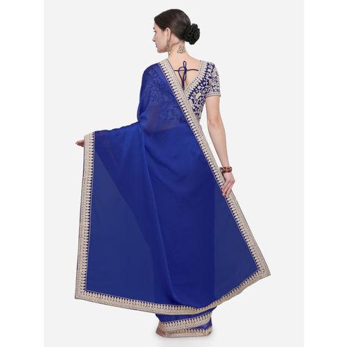 Saree Swarg Blue Solid Poly Chiffon Saree