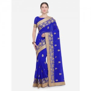 Saree Swarg Blue Embroidered Poly Georgette Saree