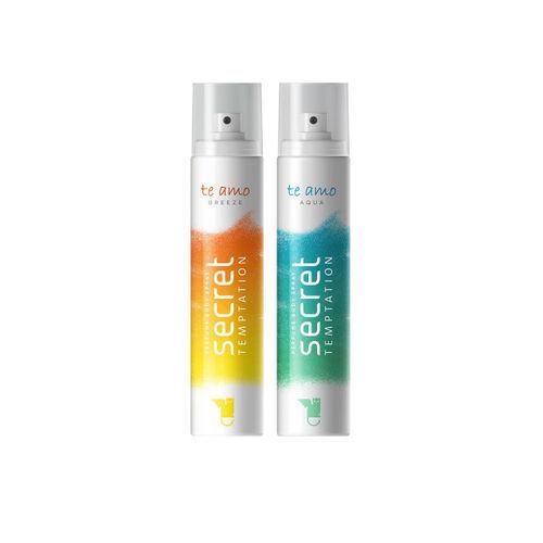 Secret Temptation Women Pack of 2 Te Amo Aqua & Breeze Perfume Body Sprays 120ml each