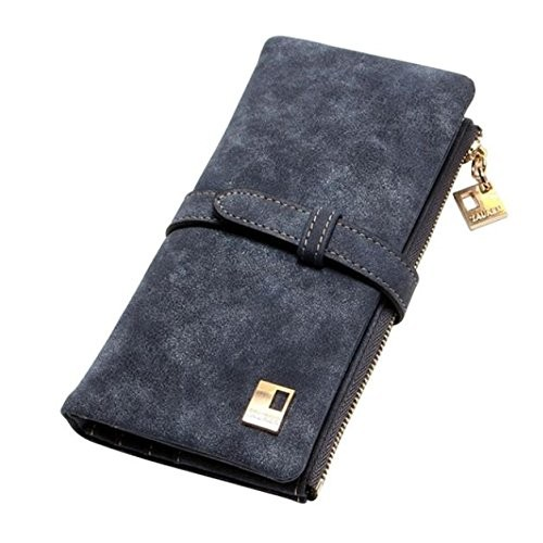 Elios Grey Drawstring Design Nubuck Leather Long Two Fold Clutch Wallet