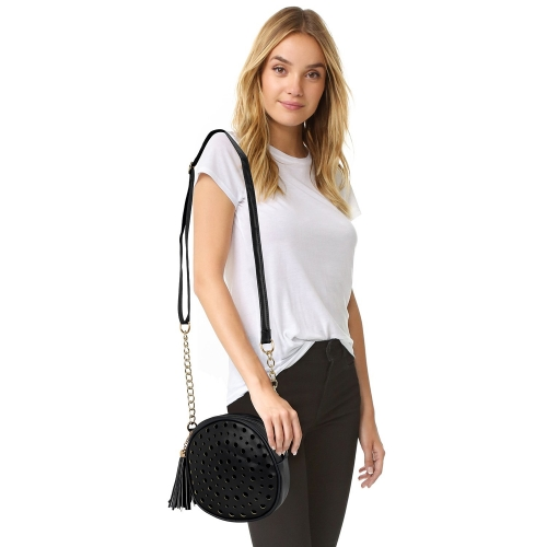 Kleio Black Faux Leather Round Double Compartment Sling Bag