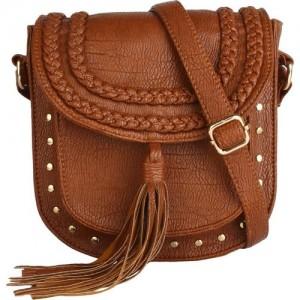 Lychee Bags Women Casual Brown PU Sling Bag