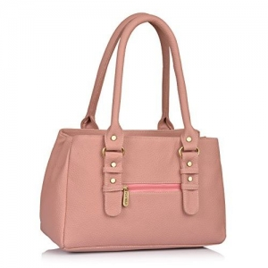 Fostelo Light Pink Polyurethane Solid Handbag
