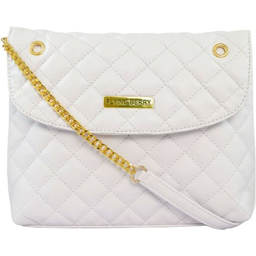 FLYING BERRY Women Casual White PU Sling Bag