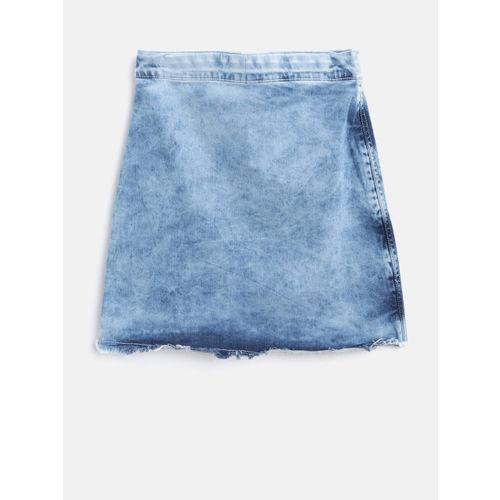 Gini and Jony Girls Blue Washed Layered Denim A-Line Skirt