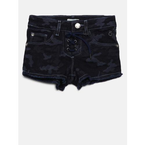 Gini and Jony Girls Navy Blue Camouflage Print Denim Shorts