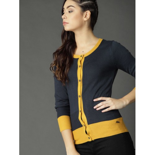 Roadster Women Navy Blue Solid Cardigan