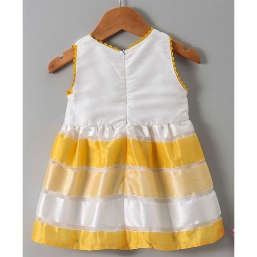 Babyhug Yellow White Sleeveless Frock Floral Applique