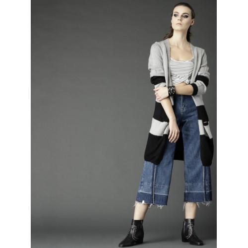 Roadster Women Grey & Black Striped Front-Open Sweater
