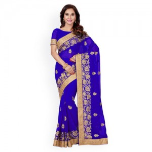Saree Swarg Blue & Gold-Toned Poly Georgette Embroidered Saree