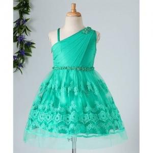 Babyhug Partywear One Shoulder Dress Rose Applique - Sea Green