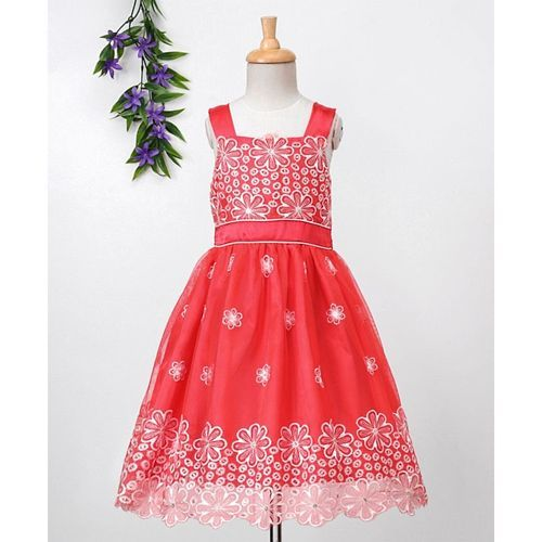 Babyhug Sleeveless Embroidered Party Dress - Coral