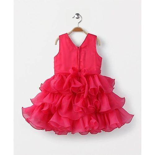Babyhug Sleeveless Layered Party Wear Frock - Dark Pink