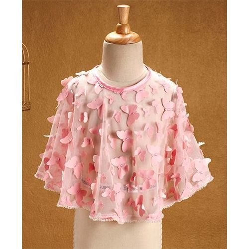 86496ca6 Buy Babyhug Sleeveless Party Wear Frock With Poncho - Pink online ...