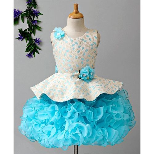 0d095aaaa18 ... Babyhug Sleeveless Ruffled Party Wear Frock With Embroidered Bodice - Sky  Blue ...