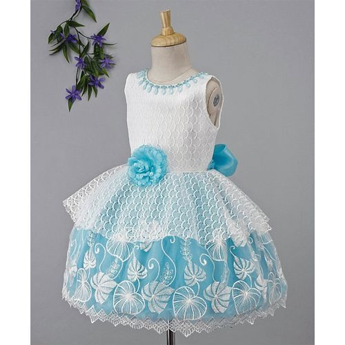 Babyhug Sleeveless Party Wear Frock With Ruffle & Frills Detailing - Sky Blue