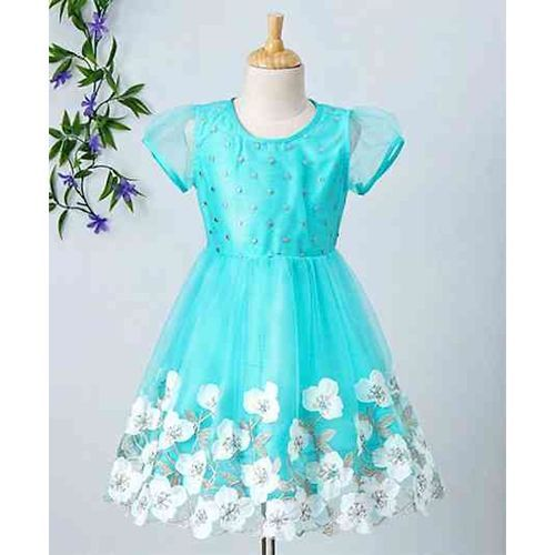 Babyhug Party Wear Short Netted Sleeves Frock Floral Embroidered - Aqua Blue