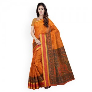 Saree Swarg Mustard & Orange Printed Mangalagiri Saree