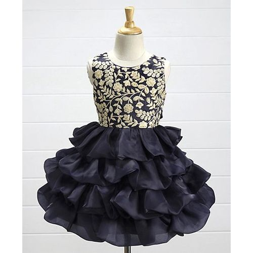 3b75f3dfc35 ... Babyhug Sleeveless Layered Party Frock Floral Embroidered - Navy Blue  ...