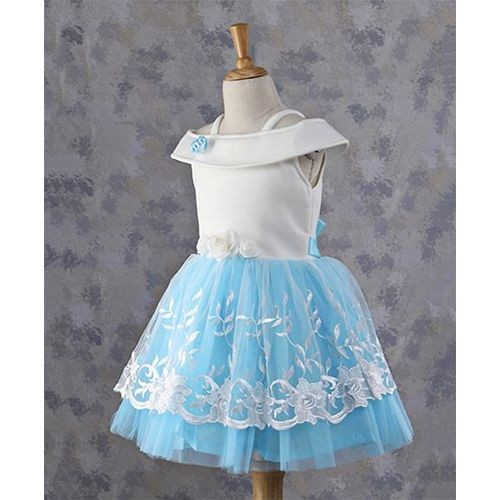Babyhug Blue & White Sleeveless Frock With Floral Design