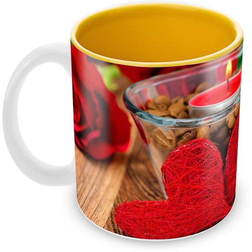 Tuelip Beautiful Love Delight Printed inside Yellow for Tea And Coffee Ceramic Mug(350 ml)