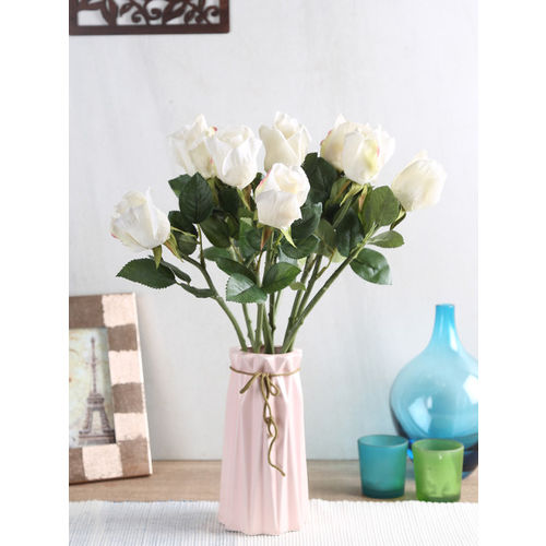 Buy Fourwalls Set Of 10 White Artificial Queen Rose Flower
